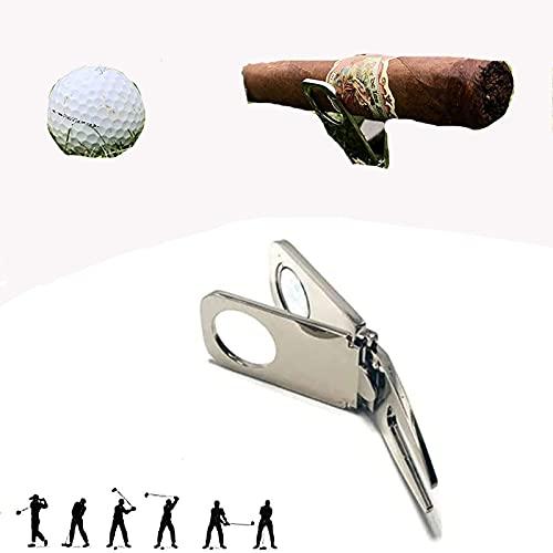 Herramienta de Divot de Golf con Soporte de cigarros de Bolas, Titular magnético de cigarros, Herramienta de reparación de Divot de Golf y Bolsillo, Accesorios de Golf Multiusos,