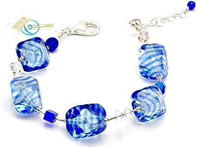SASSO RIGADIN - Pulsera azul de cristal de Murano veneciano