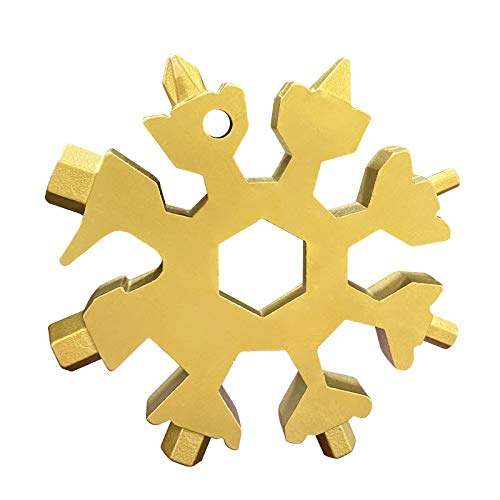18 in 1 Edelstahl Multi-Tool, Schneeflocken-Multi-Werkzeug, Schraubendreher, Dosenöffner, Anti-Verlust-Schlüsselanhänger, tragbares unglaubliches Werkzeug (Gold)