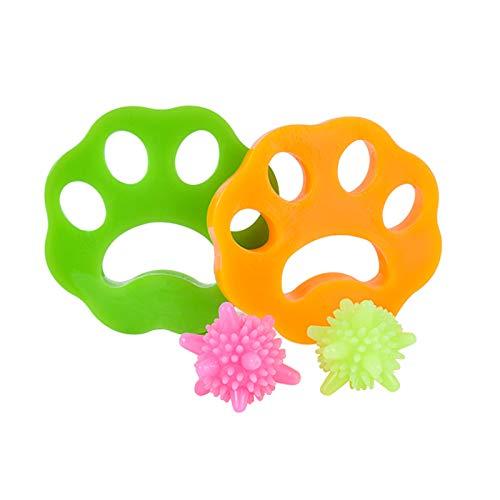 Colmanda 2 Stück Haustier Haarentferner + 2 Stück Wäscherei Bälle Wiederverwendbarer Waschmaschine Pet Hair Catcher Floating Pet Fur Catcher für Hundehaar, Katzenfell und alle Haustiere