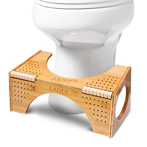 LADER Squatting Toilet Stool,Bamboo Non-Slip Squatting Toilet Step Stool,Portable Bathroom Squatting Urinal with Flip Adjustment,Two Sizes-in-one(7'and 9') (Bamboo)