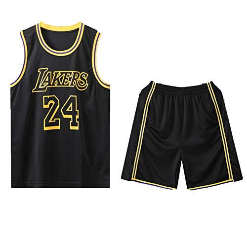 SXGX Kóbé-Lákér 24# Camisetas de Baloncesto, Camiseta de Baloncesto para Hombre, Camisa Bordada de los Hombres, Uniforme de Ventilador Deportivo Black-L
