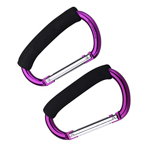 JIALEEY Strong Large Durable Buggy Carabiner Stroller Hooks Mummy Clip Pram Pushchair Grocery or Shopping and Plastic Bags Holder, 2 Pack Purple
