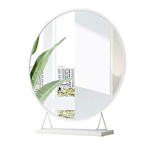 Espejo de maquillaje Espejo de mesa Hollywood Vanity para tocador de maquillaje - Espejo cosmético de pie con base - Color: blanco, tamaño: diámetro 30/40/50 / 60cm