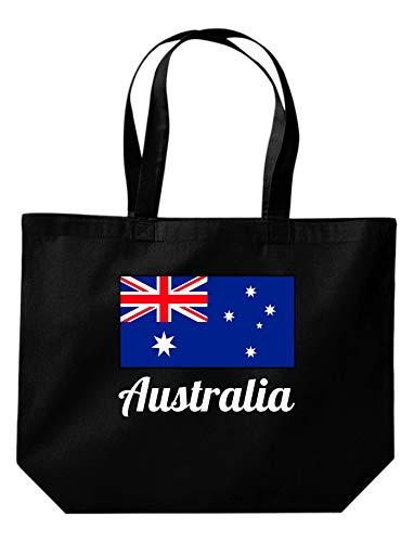 Shirtinstyle grosse Einkaufstasche, Land, Länder, Australia, Australien, Schwarz