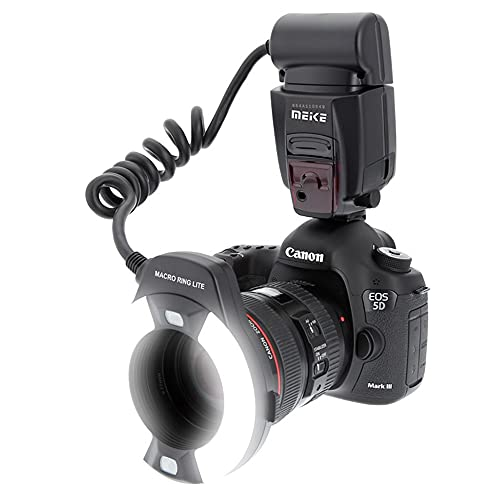 Meike MK-14EXT LED E-TTL Macro Anello Flash Per Canon 5D II III 6D 7D 60D 70D 700D SLR con 7 Adattatore Anello