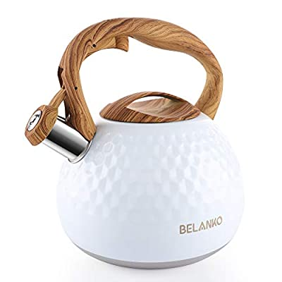 Tea Kettle, 2.7 Quart BELANKO Teapot Whistling Kettle with Wood Pattern Handle Loud Whistle, Food Grade Stainless Steel Tea Pot for Stovetops Induction Diamond Design Water Kettle - Gloss White