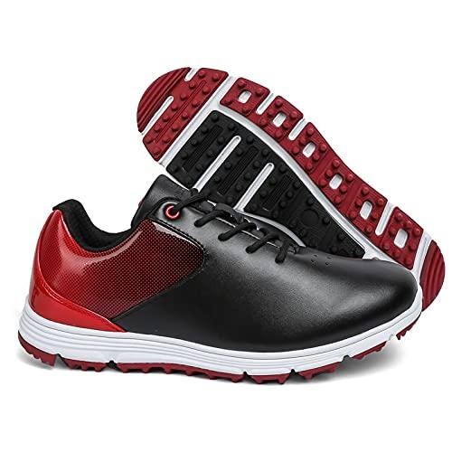 Shhyy Zapatos De Golf para Hombre al Aire Libre Antideslizantes Zapatillas De Golf Ligeras Zapatillas Deportivas De Golf De Cuero Antideslizante,Black Red,48EUR