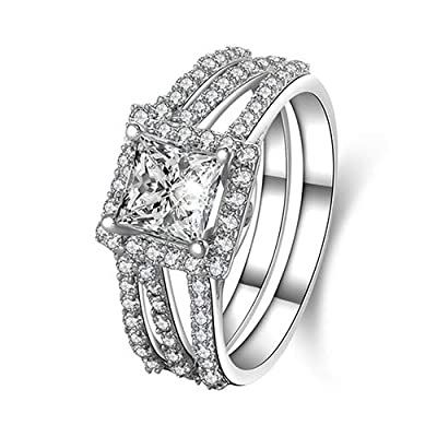 SEniutarm Engagement Love Rings Wedding Bands 2X Women's 925 Sterling Silver Princess Cut Engagement Wedding Bridal Ring Set for Women/Girl Finger Rings DIY Jewelry Gifts - Silver US 10