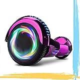 HST 6.5'' Hoverboard Patinetes de Acrobacias Patinete Eléctrico Bluetooth Monopatín Scooter Autobalanceado, Ruedas de Skate con luz LED, Motor Bluetooth de 700W… (Cromo Rosa)