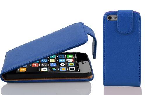 Cadorabo Custodia per Apple iPhone 5C in BLU MARINA - Protezione in Stile Flip di Similpelle Strutturata - Case Cover Wallet Book Etui