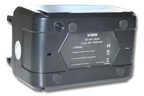 vhbw Li-Ion batería 3000mAh (28V) para herramientas Würth destornillador BS 28-A Combi por 4932352732.