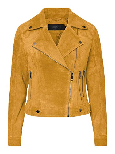 Vero Moda Vmroycesalon Short Suede Jacket Col Chaqueta, Amarillo (Amber Gold Amber Gold), Small para Mujer