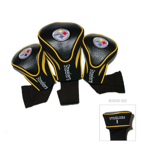 Team Golf NFL Pittsburgh Steelers Contour Golf Club Headcovers (3 Count), Numbered 1, 3, & X, Fits Oversized Drivers, Utility, Rescue & Fairway Clubs, Velour lined for Extra Club Protection