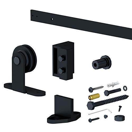 Landhausstil Schiebetürbeschlag SLID'UP 240, Rollen Optik, Scheunentor rustikal, Laufschiene 200 cm, 1 Tür bis 100 kg