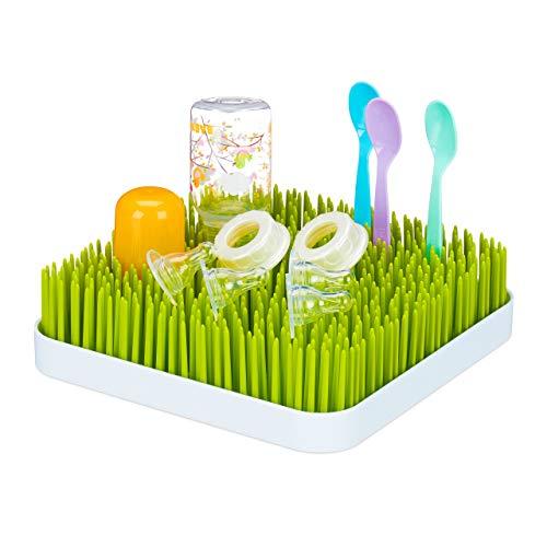 little Choice Abtropfgestell Babyflaschen, Auffangschale, Gras-Design, Flaschentrockner, Kunststoff, 23x23cm, grün/weiß