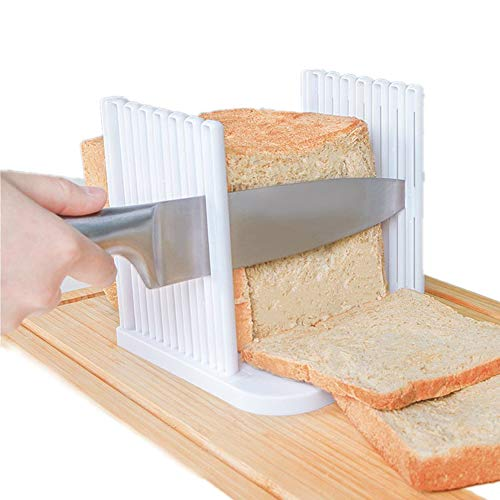 Plastic Bread Slicer,Household Toast Slicer,Bread Slicer Guide For Homemade Bread With Rubber Feet,Loaf Cutter Machine - Foldable Adjustable & Customizable to 5 Thickness