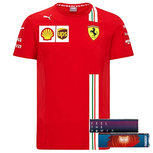 Scuderia Ferrari Team T-Shirt 2020 Formel 1 Shirt Oberteil Kurzarm rot + 4X FANERGY Traubenzucker (M)