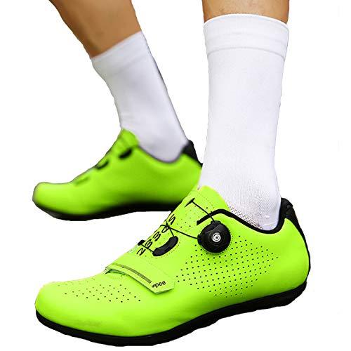 Calzado de Ciclismo para Hombre, Unisex Adulto Calzado para Ciclismo de Montaña Calzado Antideslizante Transpirable para Ciclismo de Interior,Green-EU37