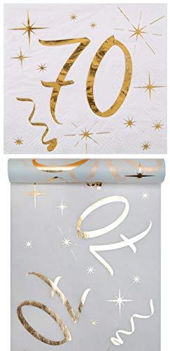 Eventausstattung24 Geburtstag Set/ Tischband 70 Gold + Servietten 70 Gold/Geburtstagsdekoration/ Servietten 70/ Tischband Geburtstag