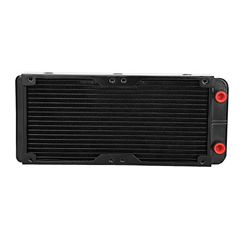 Zerone 18 tubos de aluminio PC radiador de refrigeración de agua 240 mm para disipador de calor LED de CPU (soporta 2 ventiladores de 120 mm)