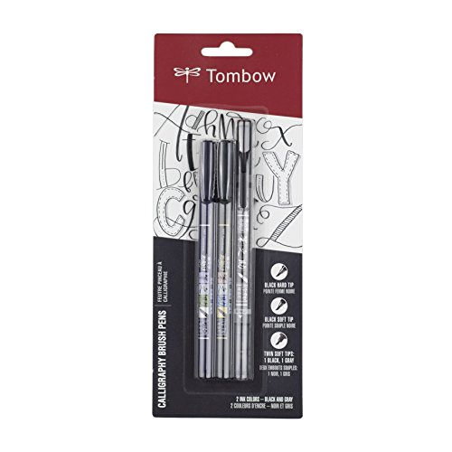 Tombow 62039 Fudenosuke Brush Pens, 3-Pack. Soft, Hard, and Twin Tip Markers for Calligraphy and Art...