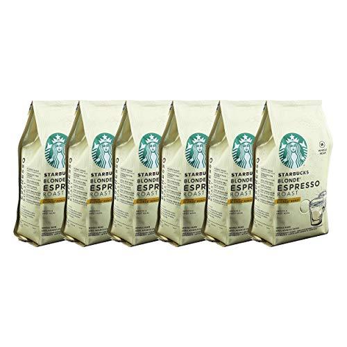 Starbucks Blonde Espresso Kaffee, 6er Set, Blonde Roast, Röstkaffee, Samtig und Süß, Ganze Bohnen, 6 x 200 g