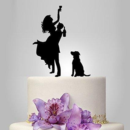 loQuenn - Topper per torta nuziale, motivo: sposo e sposa ubriachi con cane, materiale: acrilico