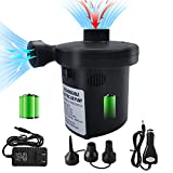 Electric Air Pump for Inflatables, Rechargeable Battery Air Pump with 3 Nozzles, Portable Quick-Fill Inflator/ Deflator Pump for Air Mattress, Pool Floats, Air Beds Boats, 110V AC/12V DC(3x1500mAH)