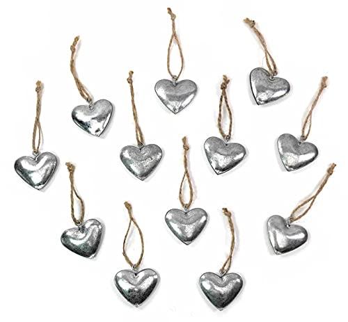 Marzoon 12x Zink Herz Anhänger ca. 3,5cm, Metallherzen zum Hängen in Silber