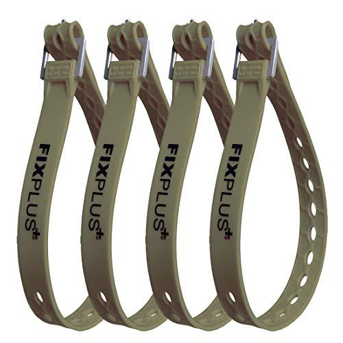 Fixplus Strap 4er-Pack - Zurrgurt Zum Sichern, Befestigen, Bündeln und Festzurren, aus Spezialkunststoff mit Aluminiumschnalle 66cm x 2,4cm (olivgrün)