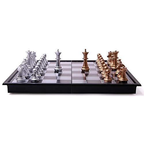 Xiix Ajedrez Juego de ajedrez Medieval Juego de ajedrez con el Tablero de ajedrez 32 Piezas de ajedrez Oro Plata magnético Set de ajedrez Juego de ajedrez (tamaño : 36cm)
