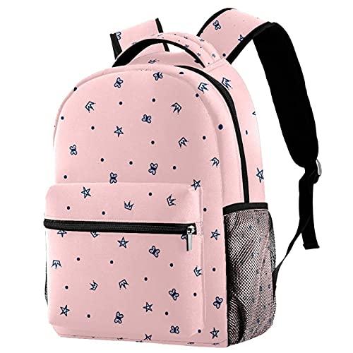 Leisure Daypacks Campus - Mochilas de viaje con corona de princesa, bolsas rosas con soporte para botellas para niñas y niños