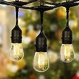 Guirnalda de luces con 2 bombillas de 15 m para exteriores, con 15 + 1 bombillas E27, para decoración de interior y exterior, boda, patio, cafetería, fiesta