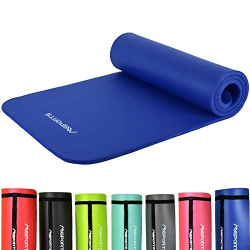 MSPORTS Gymnastikmatte Studio 183 x 61 x 1,0 oder 1,5 cm   inkl. Übungsposter und Tragegurte   Hautfreundliche - Phthalatfreie Fitnessmatte - sehr weich   Yogamatte (Königsblau, 183 x 61 x 1 cm)