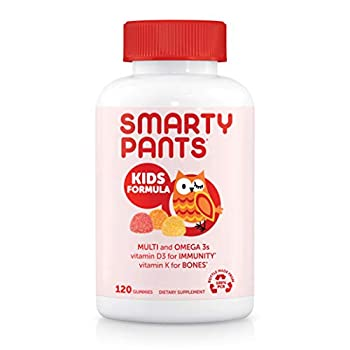SmartyPants Kids Formula Daily Gummy Multivitamin  Vitamin C D3 and Zinc for Immunity Gluten Free Omega 3 Fish Oil  DHA/EPA  Vitamin B6 Methyl B12 120 Count  30 Day Supply