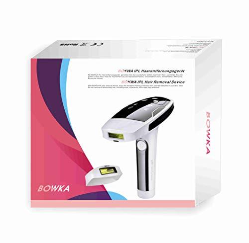 BOWKA Haarentferner IPL Haarentfernungsgerät | Anleitung auf deutsche | Haarentfernung 400.000 Lichtimpulse mit Aufsatz für Gesicht Körper Bikini-Zone Achseln