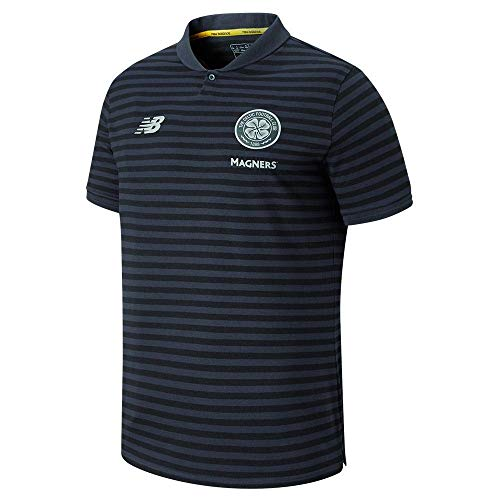 New Balance 2019-2020 Celtic Travel Stripe Polo Football Soccer T-Shirt Jersey (Phantom)
