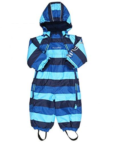 MINYMO Baby Jungen Schneeoverall, Schneeanzug Le 89 in Light Blue mit Streifen, Größe:74
