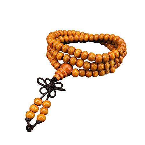 AQ89 6mm Natural Sandalwood 108 Wooden Prayer Beads Bead Bracelet Jewelry, Bracelets, Jewelry & Watches (Yellow)