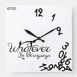 TattyaKoushi 15 by 15-inch Wall Clock, Whatever Im Late Anyways Clock Black White, Living Room Clock, Home Decor Clock