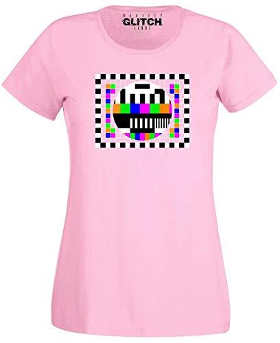 Women's Light Pink TV Error Test Card T-shirt, S to XXL