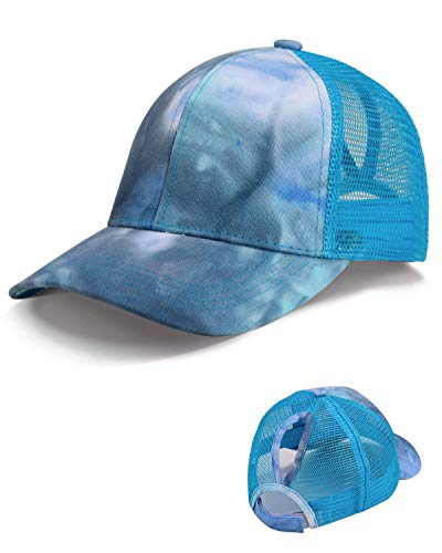 LIVACASA Basecap Damen Pferdeschwanz Mesh Baseball Cap Waschbar Hut Atmungsaktiv Cappi Sonnenhut Sonnenschutz Mädchen Kappe Schirmmütze Einheitsgröße Cappy Baseballkappe Blau