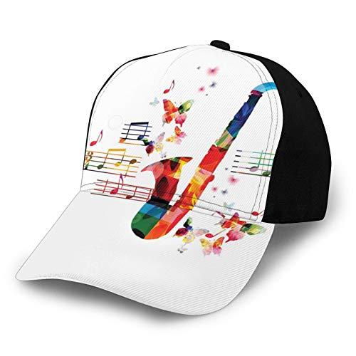 FULIYA Gorra de béisbol para papá de tamaño ajustable para correr entrenamientos y actividades al aire libre, diseño colorido de saxofón con mariposas y partituras ilustración creativa