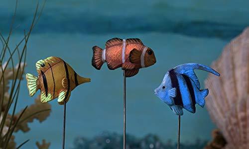 TM Miracle Store Fairly Garden Lawn Yard Decoration Miniature Fish Pick Stake Set of 3pcs