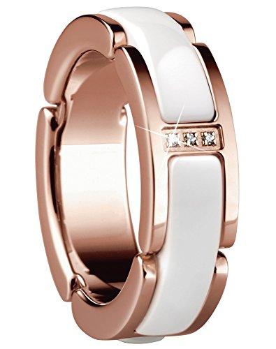 Bering Time Schmuck Edelstahl gold rosé Ceramic weiß Ring Fingerring 502-35, Ringgröße:62 (19.7 mm Ø)