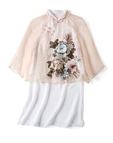 HangErFeng Shirts Chinese Element Klassieke Zijde Geborduurde Tang Jurk Lange Blouse