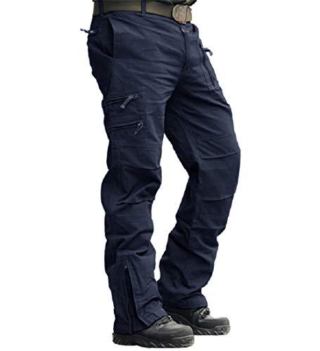 MAGCOMSEN Männer Cargo Hose Outdoor Tactical Hose Lang Arbeitshose mit Multi Taschen Herren Ripstop Militär Hose US Armee Jagdhose Funktionshose für Trekking Wandern Dunkelblau 32