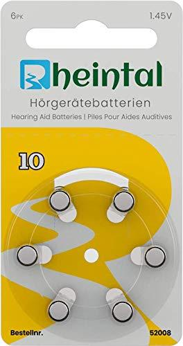 52012-Rheintal 30 Premium Hörgerätebatterien Typ A10 für alle Hörgeräte mit Batteriefarbe GELB - 1.45V - PR70-100mAh