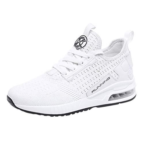 2019 Zapatos cuña Mujer ZARLLE Mujer Zapatillas de Deporte Malla Air Cuña Cómodos Sneakers Mujer Casual Running Senderismo Ligero Mesh Zapatillas Gris Negro 36-45